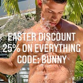 Easter Discount 2021.  25% discount on everything!  Promotion Code: BUNNY  Get your Hotties now!  HottieMenswear.com  #underwear #promotion #discount #bunny #briefs #boxer #model